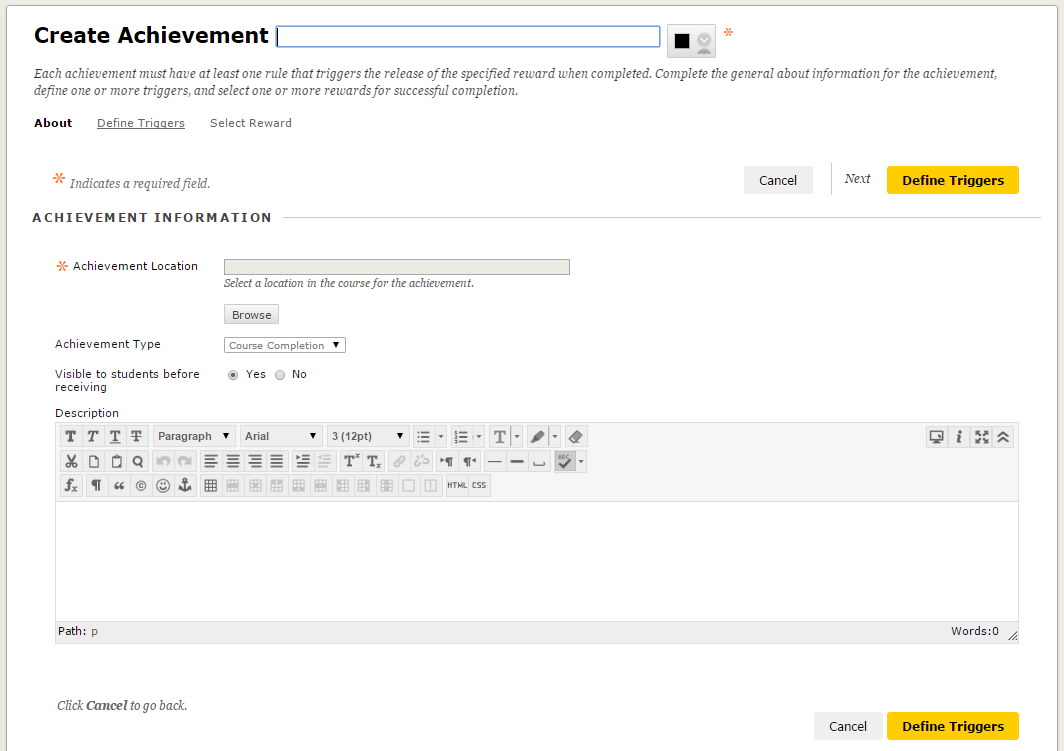 Achievements : Create and Manage | Blackboard Support