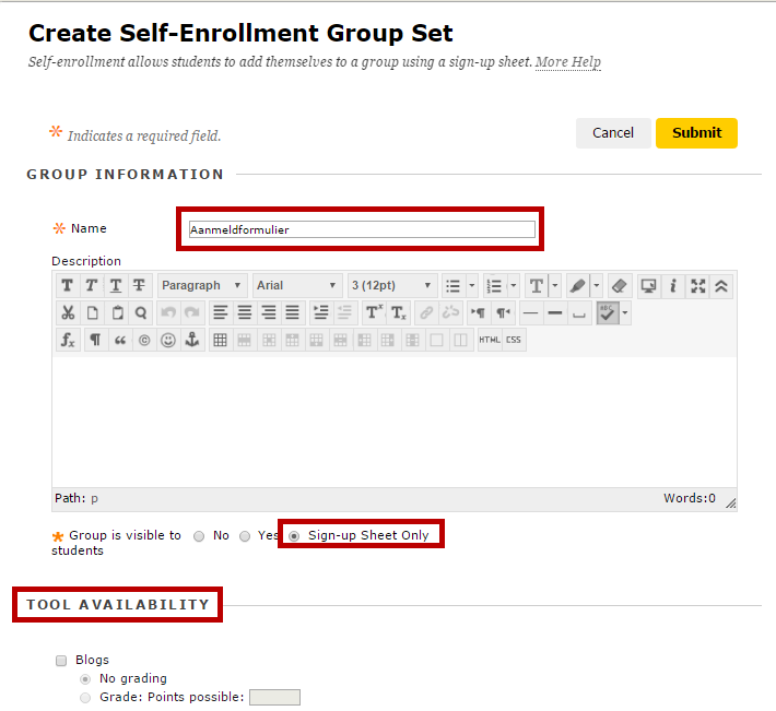 How To Create A Sign Up Sheet Blackboard Support Uu  Create A Selfenrolled Signup Sheet